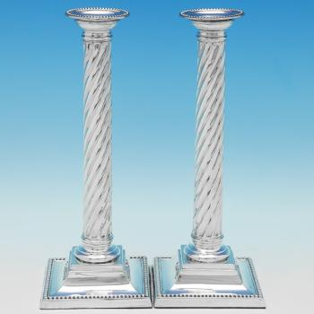B9673: Antique Sterling Silver Candlesticks - Martin Hall & Co. Hallmarked In 1886 London - Victorian - Image 1