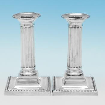 B9740: Antique Sterling Silver Candlesticks - James Dixon & Sons Hallmarked In 1902 Sheffield - Edwardian - Image 1