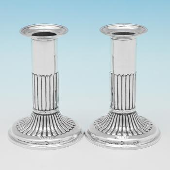 B9851: Antique Sterling Silver Candlesticks - Martin Goldstein Hallmarked In 1886 London - Victorian - Image 1
