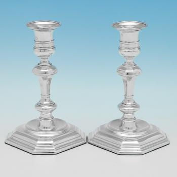 B9919: Antique Sterling Silver Candlesticks - Thomas Bradbury And Sons Hallmarked In 1895 London - Victorian - Image 1