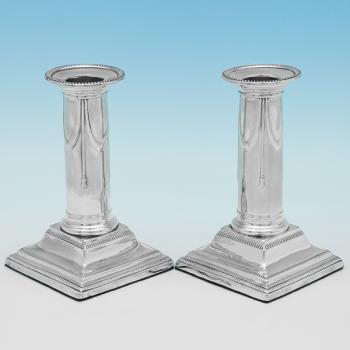 B9955: Antique Sterling Silver Candlesticks - Hawksworth Eyres & Co Hallmarked In 1905 Sheffield - Edwardian - Image 1
