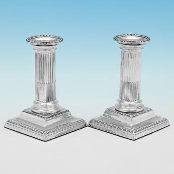 B9995: Antique Sterling Silver Candlesticks - JK Benbridge Hallmarked In 1886 Sheffield - Victorian - Image 1