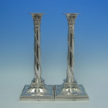 d1307: Antique Sterling Silver Pair Of Candlesticks - T. Bradbury & Sons Hallmarked In 1897 London - Victorian - image 1
