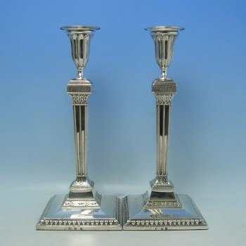 e0804: Antique Sterling Silver Candlesticks - Hallmarked In 1781 London - George III Georgian - image 1