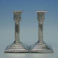 e4382: Antique Sterling Silver Candlesticks - J. K. Bembridge Hallmarked In 1870 Sheffield - Victorian - image 1