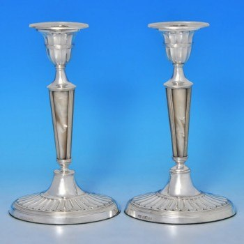 j0179: Antique Sterling Silver Pair Of Candlesticks - George Hancock Hallmarked In 1904 Sheffield - Edwardian - image 1