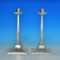 j3149: Antique Sterling Silver Pair Of Candlesticks - James Dixon & Sons Hallmarked In 1904 Sheffield - Edwardian - image 1