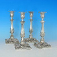 j3694: Sterling Silver Set Of Four Candlesticks - T. Bradbury & Sons Hallmarked In 1928 Sheffield - George V  - image 1