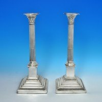j4029: Antique Sterling Silver Pair Of Candlesticks - William Latham & Sons Hallmarked In 1899 Sheffield - Victorian - image 5