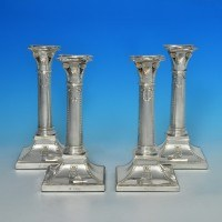 j5077: Antique Sterling Silver Set Of Candlesticks - G. Lambert Hallmarked In 1899 London - Victorian - image 1