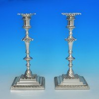 j5926: Sterling Silver Pair Of Candlesticks - Hawksworth Eyres & Co Hallmarked In 1926 Sheffield - George V  - image 1