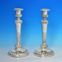 j6344: Antique Sterling Silver Pair Of Candlesticks - John Roberts & Co Hallmarked In 1807 Sheffield - George III Georgian - ima