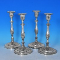 j6467: Antique Sterling Silver Set Of Four Candlesticks - J. Parsons & Co. Hallmarked In 1792 Sheffield - George III Georgian -