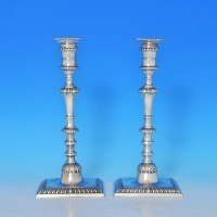 j6535: Antique Sterling Silver Pair Of Candlesticks - William Cafe Hallmarked In 1768 London - George III Georgian - image 5