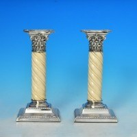 j7372: Antique Sterling Silver Pair Of Candlesticks - Hallmarked In 1892 Birmingham - Victorian - image 1