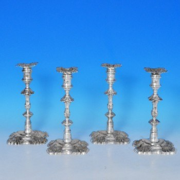 j7538: Antique Sterling Silver Set Of Four Candlesticks - J. Priest Hallmarked In 1753 London - George II Georgian - image 1