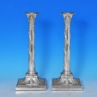 j7569: Antique Sterling Silver Pair Of Candlesticks - Turner Bradbury Hallmarked In 1894 London - Victorian - image 1