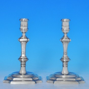 j7898: Sterling Silver Pair Of Candlesticks - James Robinson Hallmarked In 1977 London - Elizabeth II  - image 1