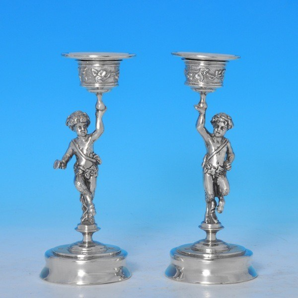 j7899: Sterling Silver Pair Of Candlesticks - Hallmarked In 1998 London - Elizabeth II  - image 1