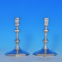 j8034: Sterling Silver Pair Of Candlesticks - J.C.Lowe Hallmarked In 1973 London - Elizabeth II  - image 1