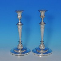 j8307: Antique Sterling Silver Pair Of Candlesticks - J. Greene & Co. Hallmarked In 1800 Sheffield - George III Georgian - image