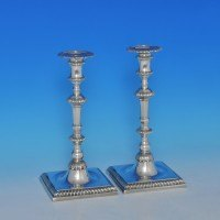 j8557: Sterling Silver Pair Of Candlesticks - Goldsmiths & Silversmiths Co. Hallmarked In 1963 London - Elizabeth II  - image 1