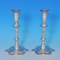 j8686: Sterling Silver Pair Of Candlesticks - J. B. Chatterley & Sons Ltd. Hallmarked In 1982 Birmingham - Elizabeth II  - image