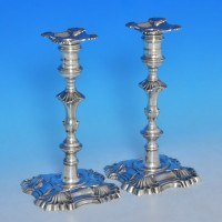 j8753: Antique Sterling Silver Pair Of Candlesticks - Dorothy Sorbitt Hallmarked In 1754 London - George II Georgian - image 1