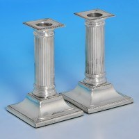 j9360: Antique Sterling Silver Pair Of Candlesticks - Horace Woodward Hallmarked In 1892 Sheffield - Victorian - image 1