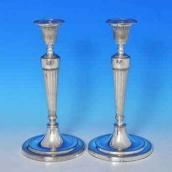 j9485: Antique Sterling Silver Pair Of Candlesticks - J. Greene & Co. Hallmarked In 1796 Sheffield - George III Georgian - image
