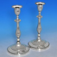 j9992: Antique Sterling Silver Pair Of Candlesticks - J. Greene & Co. Hallmarked In 1794 Sheffield - George III Georgian - image