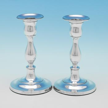 L0135: Antique Sterling Silver Candlesticks - R S Hallmarked In 1799 Sheffield - Georgian - Image 1