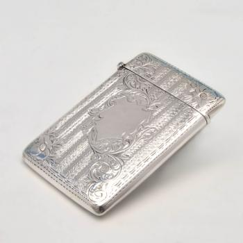 B4441: Antique Sterling Silver Card Case - Joseph Gloster Ltd Hallmarked In 1900 Birmingham - Victorian - Image 1