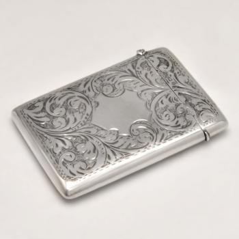 B4870:  Sterling Silver Card Case - W. H. Sparrow Hallmarked In 1919 Birmingham - George V - Image 1