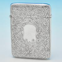 B6678: Antique Sterling Silver Card Cases - George Loveridge Hallmarked In 1898 Birmingham - Victorian - Image 1