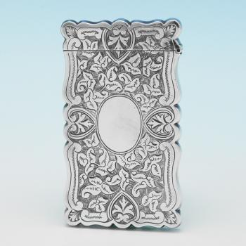 B9472: Antique Sterling Silver Card Case - Hilliard & Thomason Hallmarked In 1892 Birmingham - Victorian - Image 1
