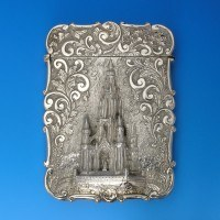 e6071b: Antique Sterling Silver Card Case - Nathaniel Mills Hallmarked In 1844 Birmingham - Victorian - image 1