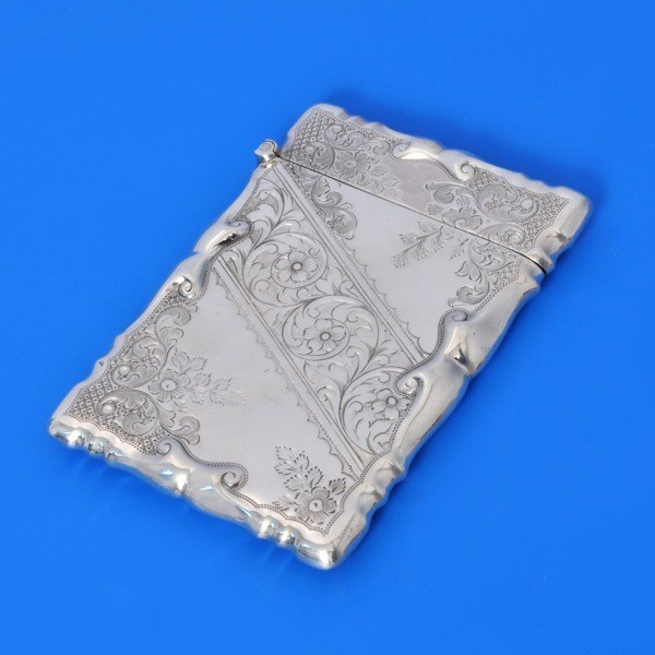 j8168: Antique Sterling Silver Card Case - Walker & Hall Hallmarked In 1902 Sheffield - Edwardian - image 1