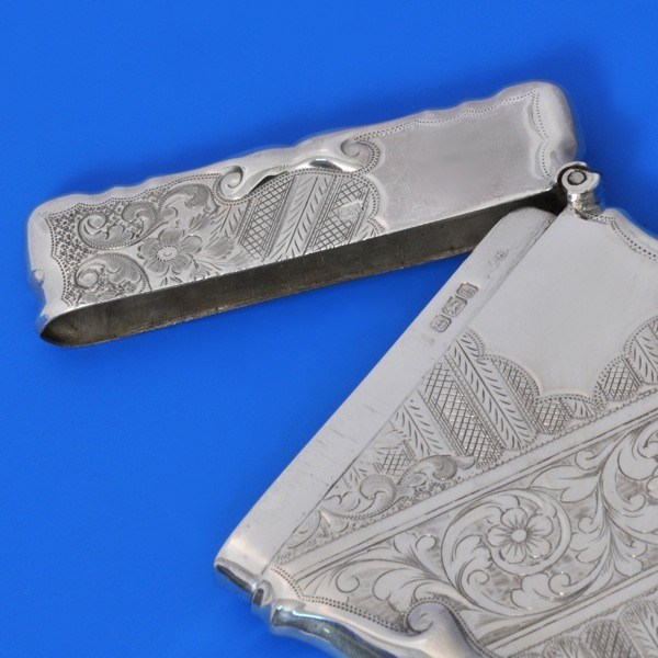 j8168: Antique Sterling Silver Card Case - Walker & Hall Hallmarked In 1902 Sheffield - Edwardian - image 3
