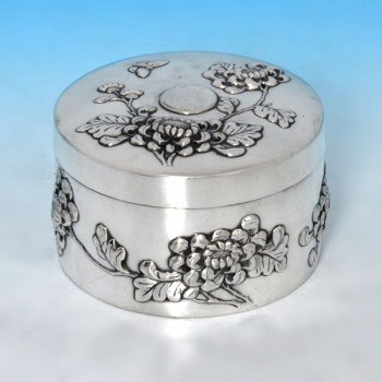 b0666: Antique Foreign Silver Chinese Silver Box - Kwan Man Shing Circa 1900 - Victorian - image 1