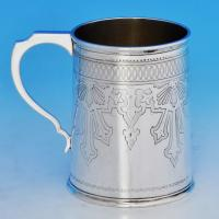 B0977: Antique Sterling Silver Christening Mug - Frederick Elkington Hallmarked In 1876 London - Victorian - Image 1