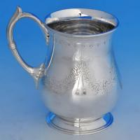 B1329: Antique Sterling Silver Christening Mug - Henry Wilkinson Hallmarked In 1858 Sheffield - Victorian - Image 1