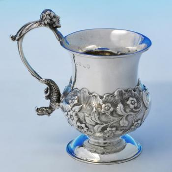 B2128: Antique Sterling Silver Christening Mug - Unknown Hallmarked In 1832 London - William IV - Image 1