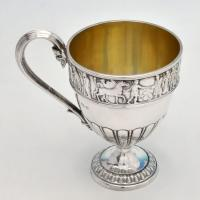 B4859: Antique Sterling Silver Christening Mugs - Elkington & Co. Hallmarked In 1906 Birmingham - Edwardian - Image 1