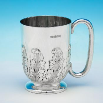 B5964: Antique Sterling Silver Christening Mug - Thomas Levesley Hallmarked In 1899 Sheffield - Victorian - Image 1