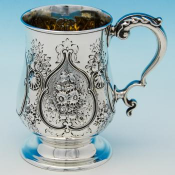 B6332: Antique Sterling Silver Christening Mugs - Frederick Elkington Hallmarked In 1872 London - Victorian - Image 1