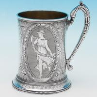 B6376: Antique Sterling Silver Christening Mug - Edward C. Brown Hallmarked In 1875 London - Victorian - Image 1