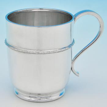 B6883:  Sterling Silver Christening Mug - Henry Wilkinson Hallmarked In 1927 Sheffield - George V - Image 1