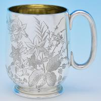 B7799: Antique Sterling Silver Christening Mugs - Henry Atkins Hallmarked In 1902 Sheffield - Edwardian - Image 1