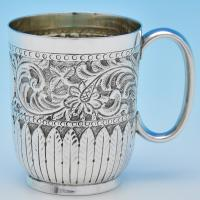 B8052: Antique Sterling Silver Christening Mugs - Charles Boynton Hallmarked In 1904 London - Edwardian - Image 1
